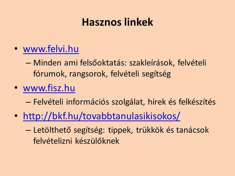 Hasznos linkek www.felvi.hu www.fisz.hu