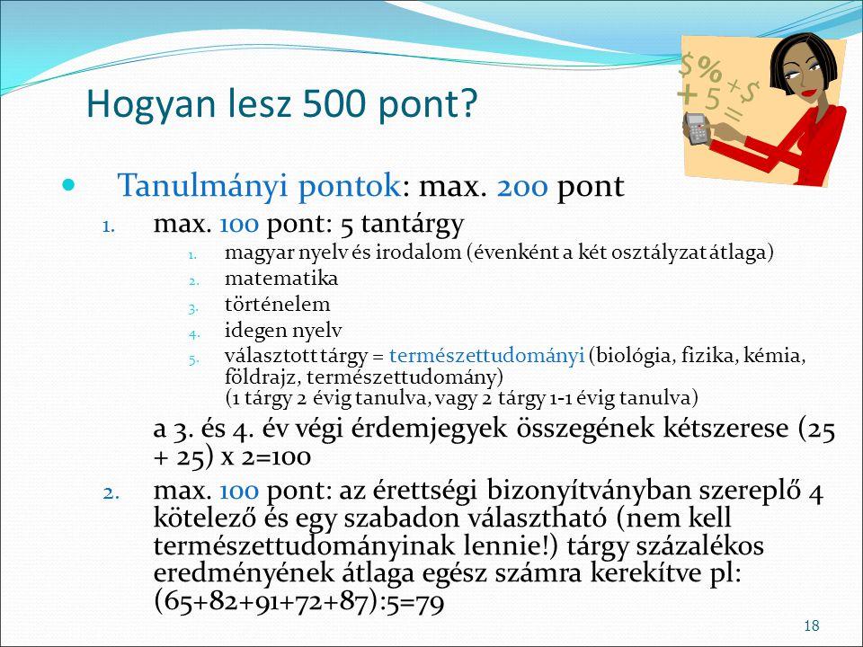 Hogyan lesz 500 pont Tanulmányi pontok: max. 200 pont