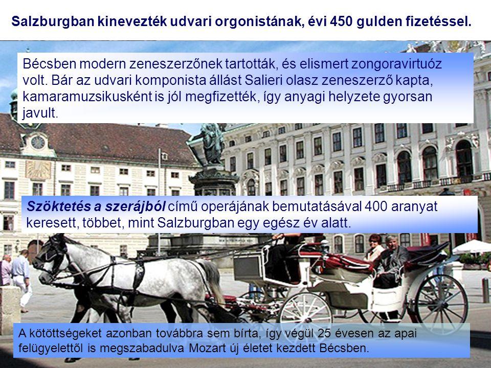 Salzburgban kinevezték udvari orgonistának, évi 450 gulden fizetéssel.