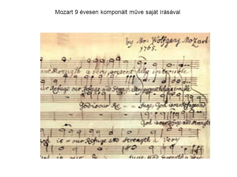 Mozart 9 évesen komponált műve saját írásával