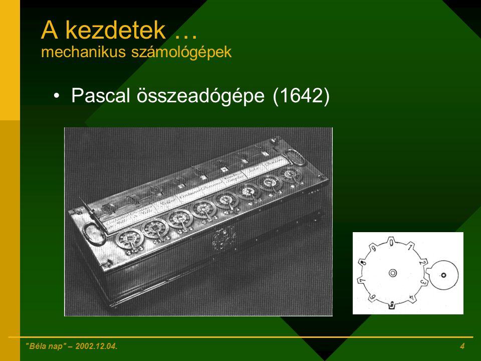 A kezdetek … mechanikus számológépek