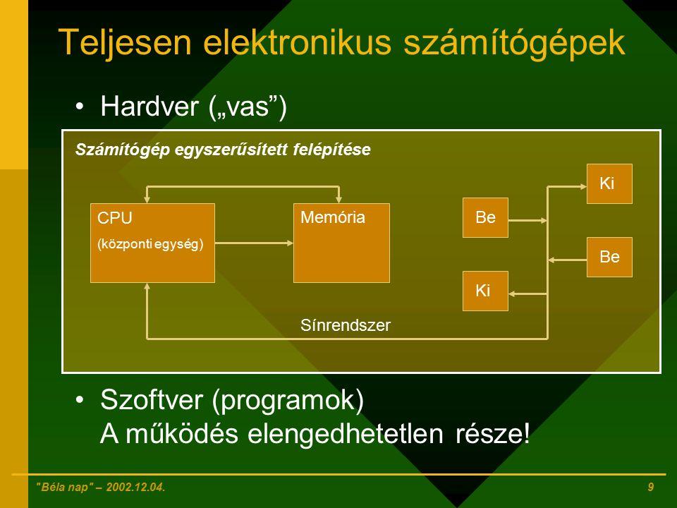 Teljesen elektronikus számítógépek