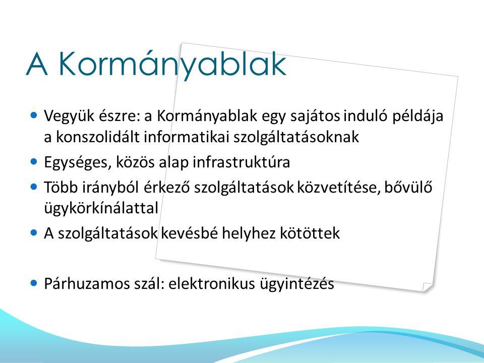 A Kormányablak Vegyük észre: a Kormányablak egy sajátos induló példája a konszolidált informatikai szolgáltatásoknak.