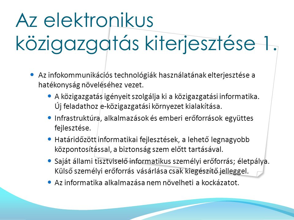Az elektronikus közigazgatás kiterjesztése 1.