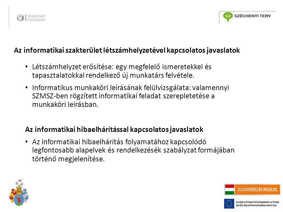 Az informatikai szakterület létszámhelyzetével kapcsolatos javaslatok