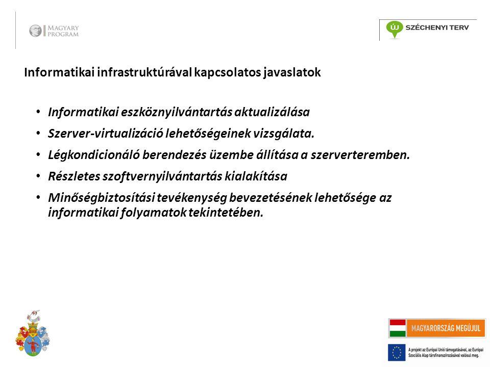Informatikai infrastruktúrával kapcsolatos javaslatok