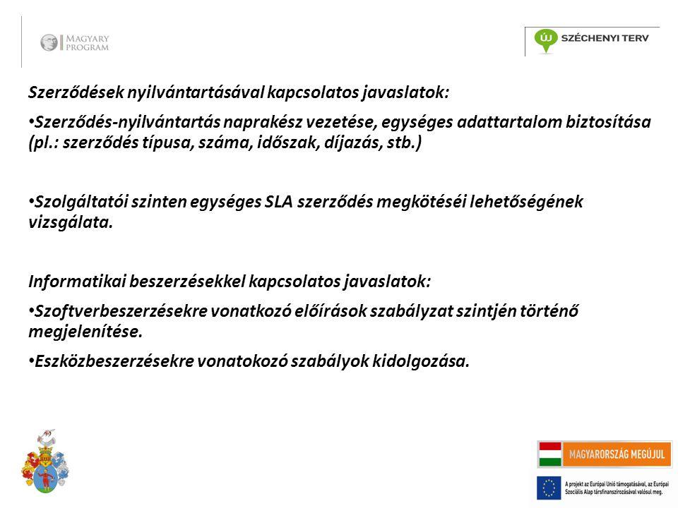Szerződések nyilvántartásával kapcsolatos javaslatok: