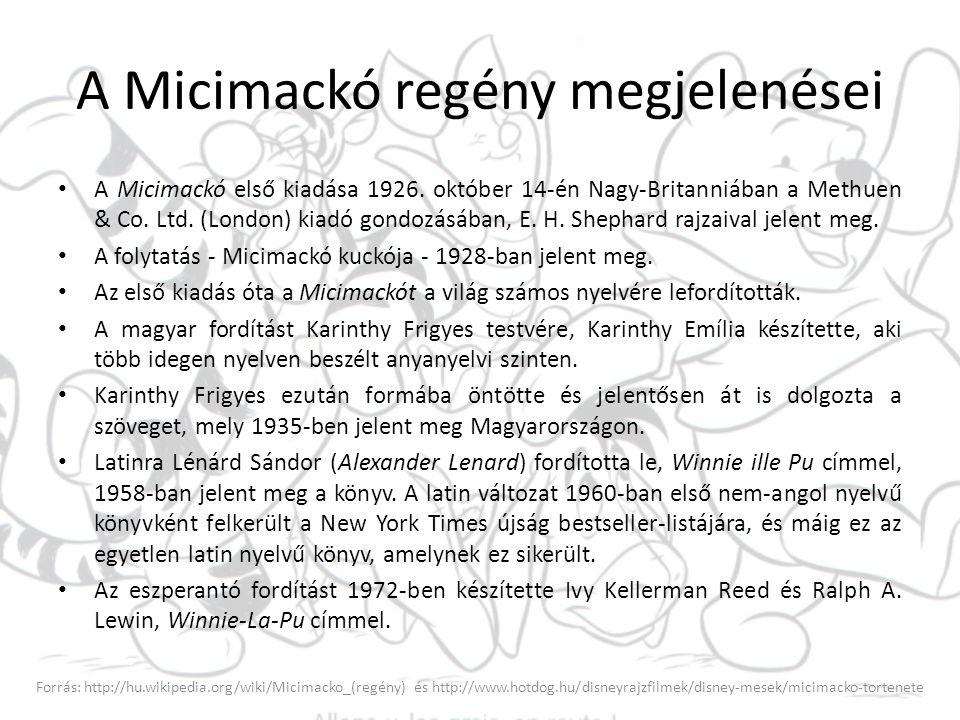 A Micimackó regény megjelenései