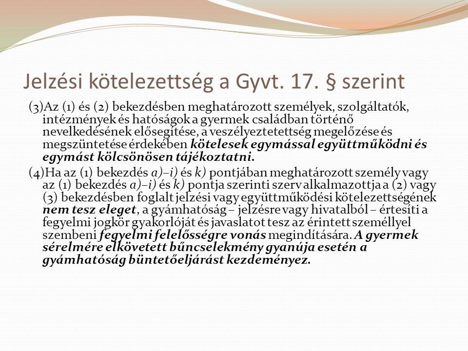 Jelzési kötelezettség a Gyvt. 17. § szerint