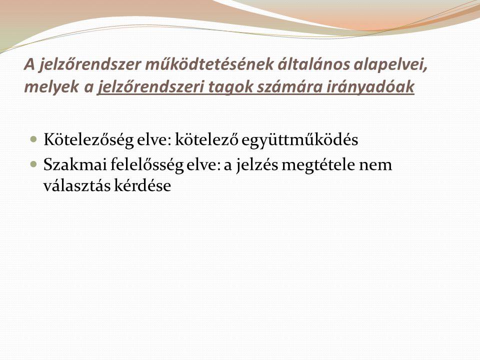 A jelzőrendszer működtetésének általános alapelvei, melyek a jelzőrendszeri tagok számára irányadóak