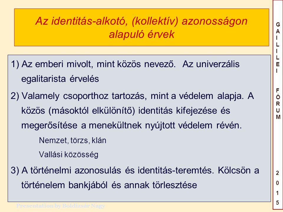 Az identitás-alkotó, (kollektív) azonosságon alapuló érvek