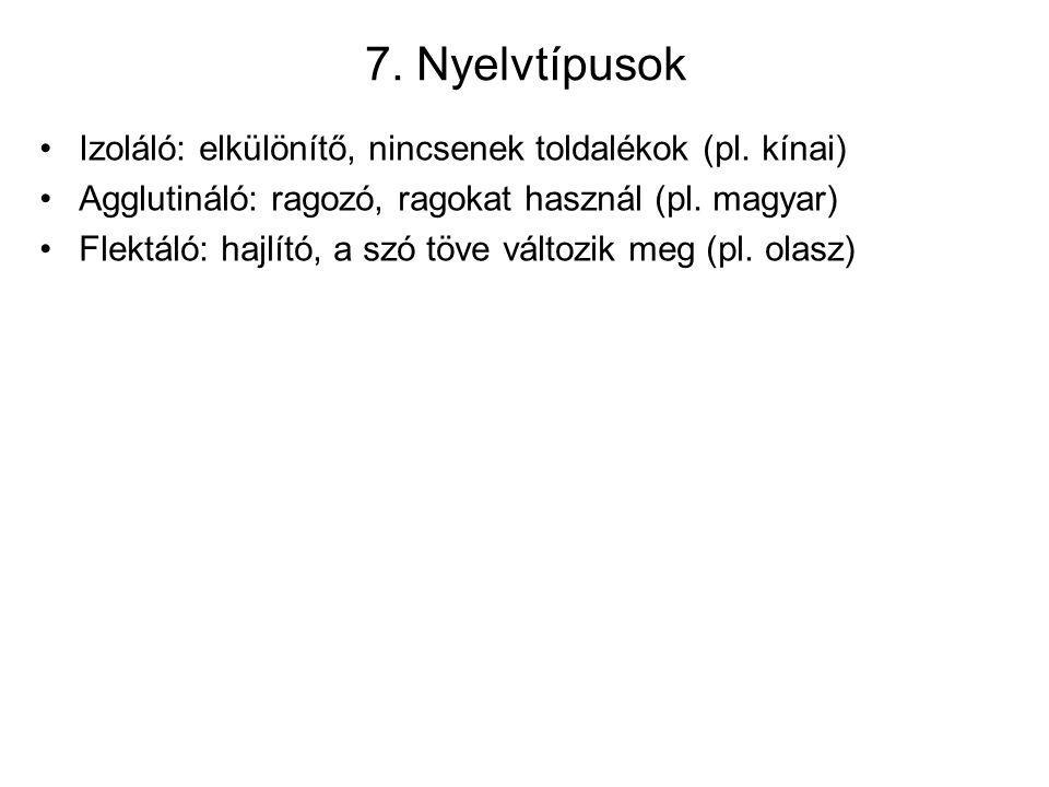 7. Nyelvtípusok Izoláló: elkülönítő, nincsenek toldalékok (pl. kínai)