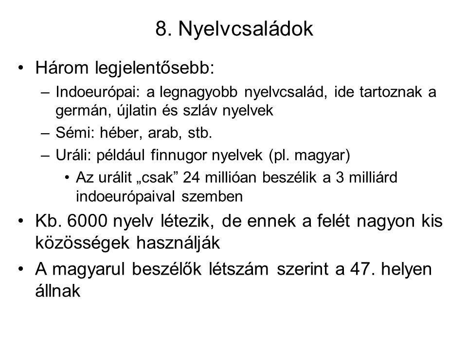 8. Nyelvcsaládok Három legjelentősebb: