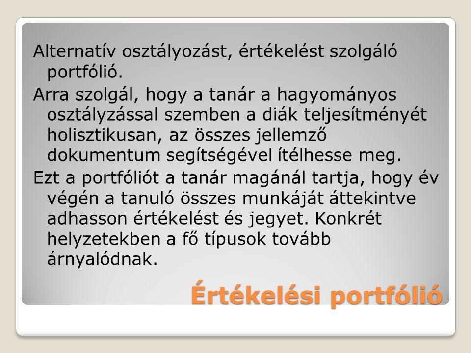 Alternatív osztályozást, értékelést szolgáló portfólió