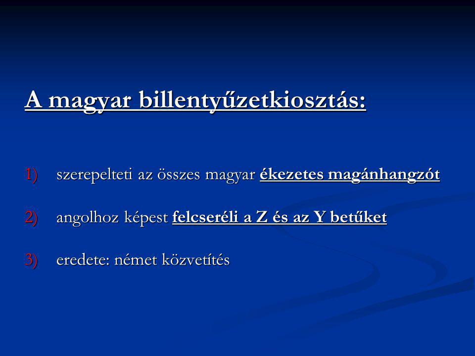A magyar billentyűzetkiosztás:
