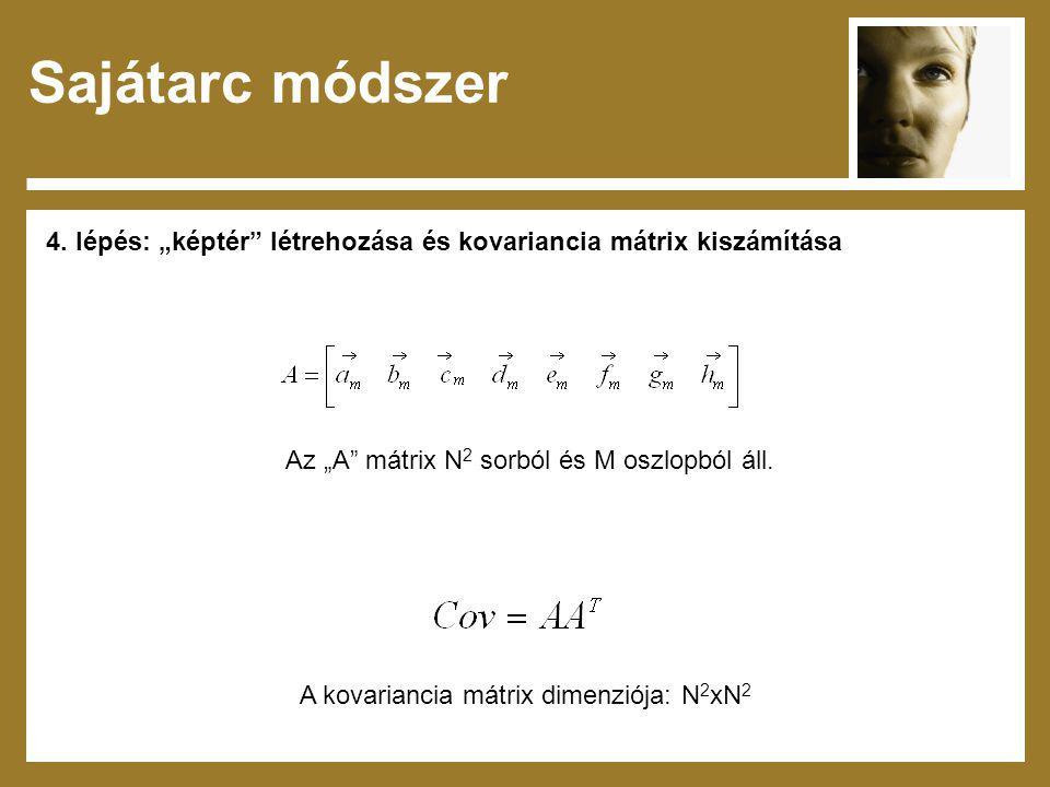 """Sajátarc módszer 4. lépés: """"képtér létrehozása és kovariancia mátrix kiszámítása. Az """"A mátrix N2 sorból és M oszlopból áll."""