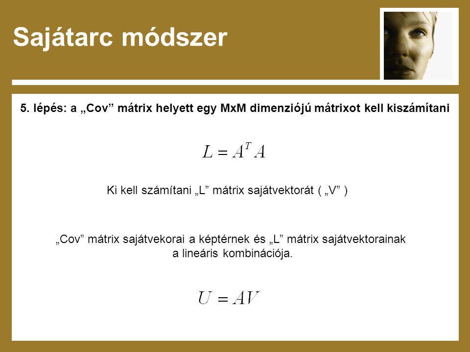 """Sajátarc módszer 5. lépés: a """"Cov mátrix helyett egy MxM dimenziójú mátrixot kell kiszámítani. Ki kell számítani """"L mátrix sajátvektorát ( """"V )"""