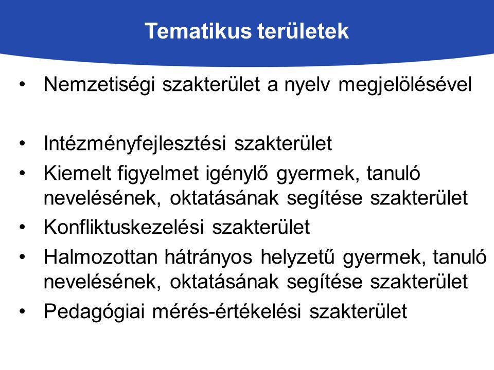 Tematikus területek Nemzetiségi szakterület a nyelv megjelölésével
