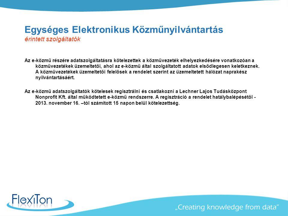 Egységes Elektronikus Közműnyilvántartás érintett szolgáltatók