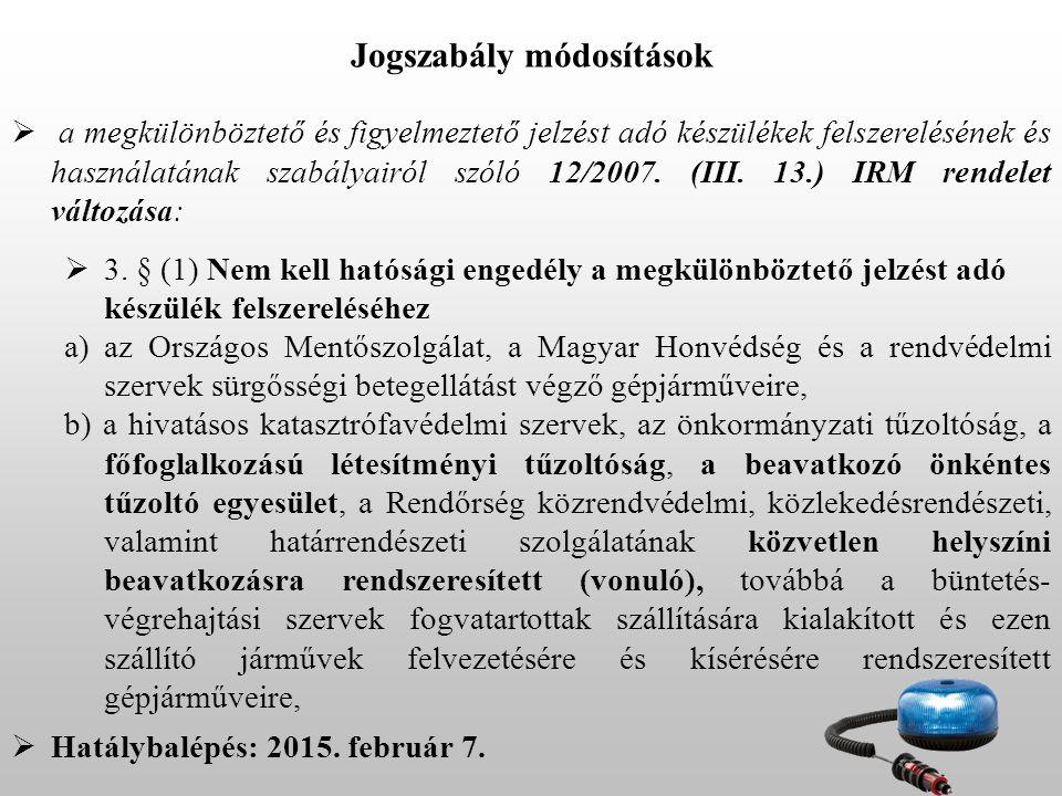 Jogszabály módosítások
