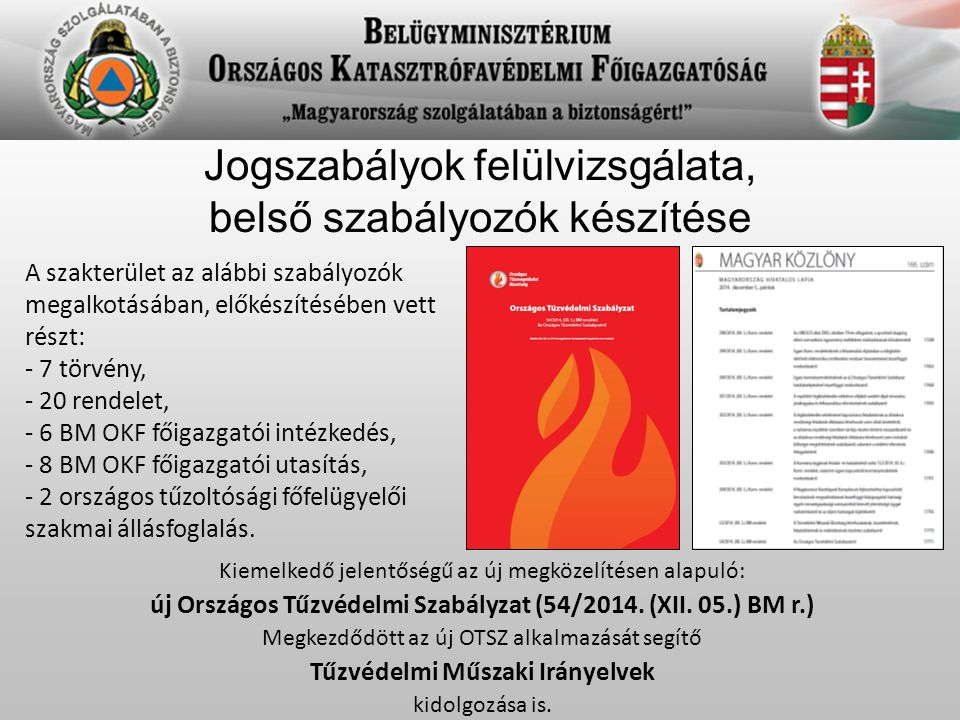 új Országos Tűzvédelmi Szabályzat (54/2014. (XII. 05.) BM r.)
