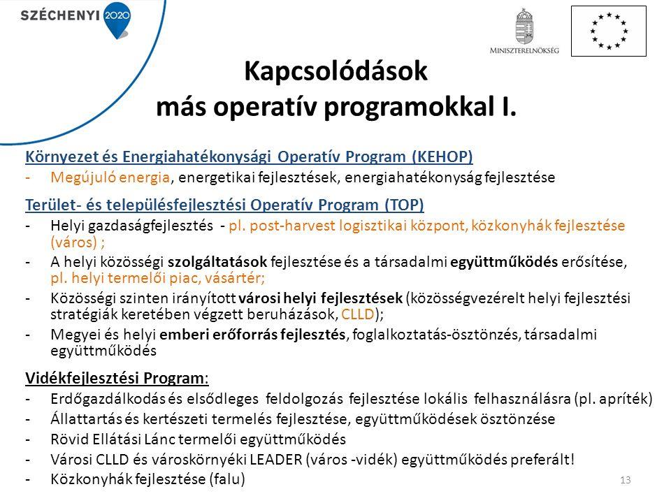 Kapcsolódások más operatív programokkal I.