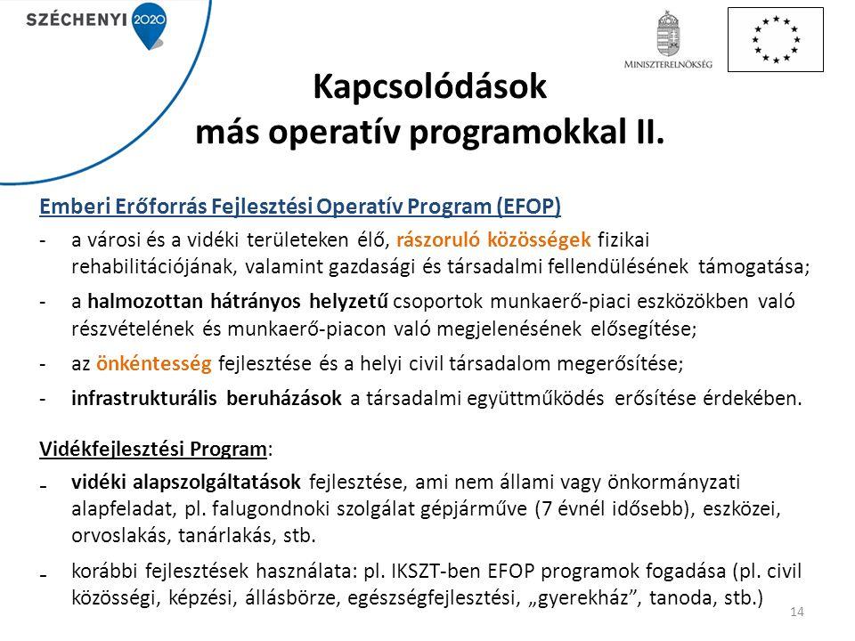 Kapcsolódások más operatív programokkal II.