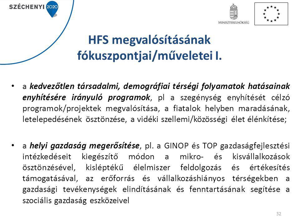 HFS megvalósításának fókuszpontjai/műveletei I.