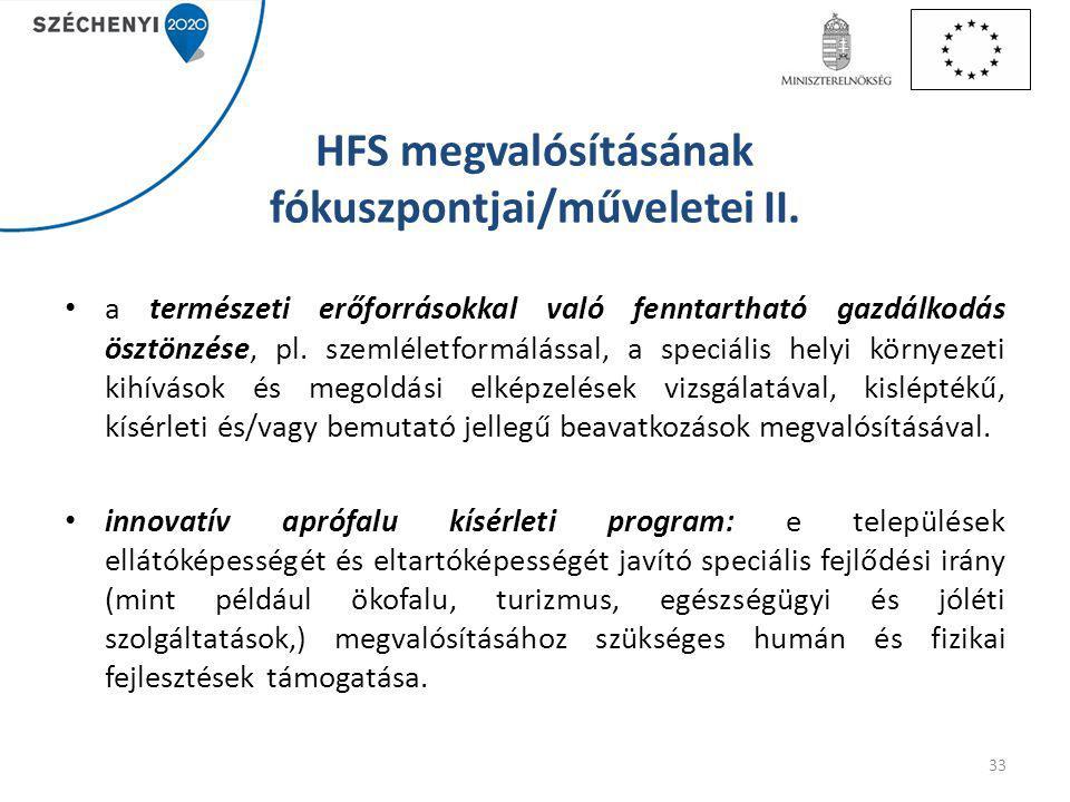 HFS megvalósításának fókuszpontjai/műveletei II.