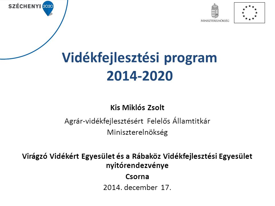 Vidékfejlesztési program 2014-2020