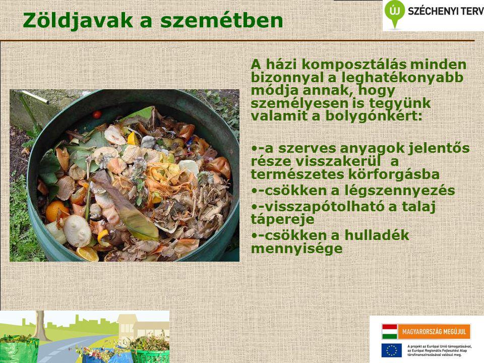 Zöldjavak a szemétben A házi komposztálás minden bizonnyal a leghatékonyabb módja annak, hogy személyesen is tegyünk valamit a bolygónkért: