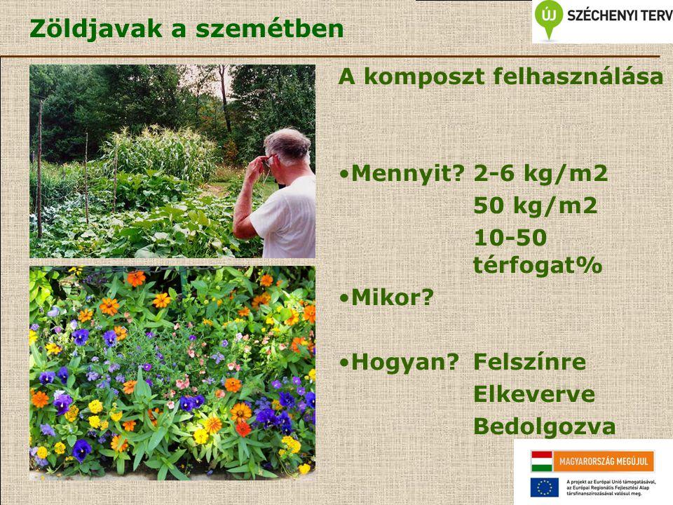 Zöldjavak a szemétben A komposzt felhasználása Mennyit 2-6 kg/m2