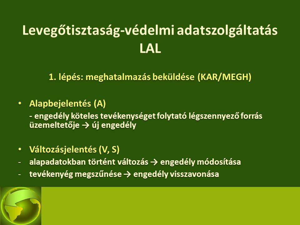 Levegőtisztaság-védelmi adatszolgáltatás LAL