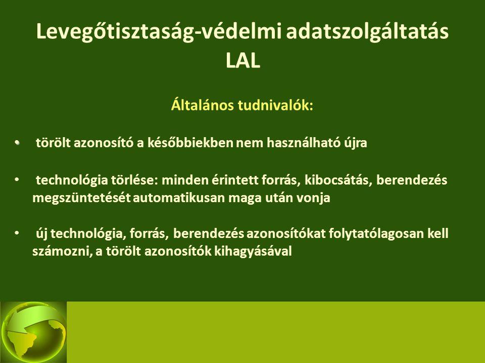 Levegőtisztaság-védelmi adatszolgáltatás LAL Általános tudnivalók: