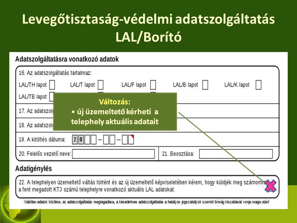 Levegőtisztaság-védelmi adatszolgáltatás LAL/Borító