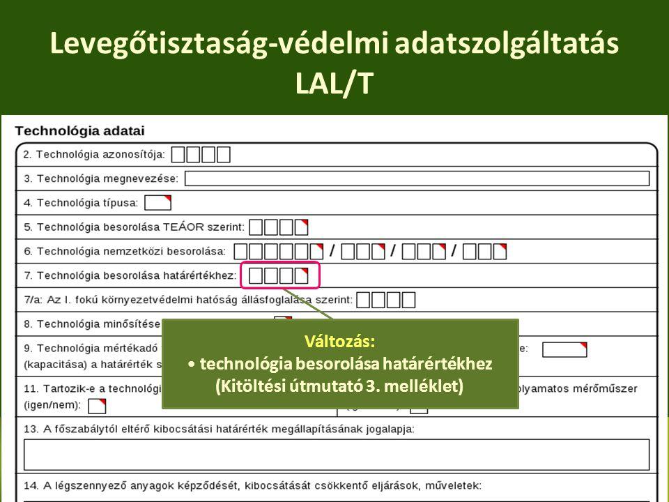 Levegőtisztaság-védelmi adatszolgáltatás LAL/T