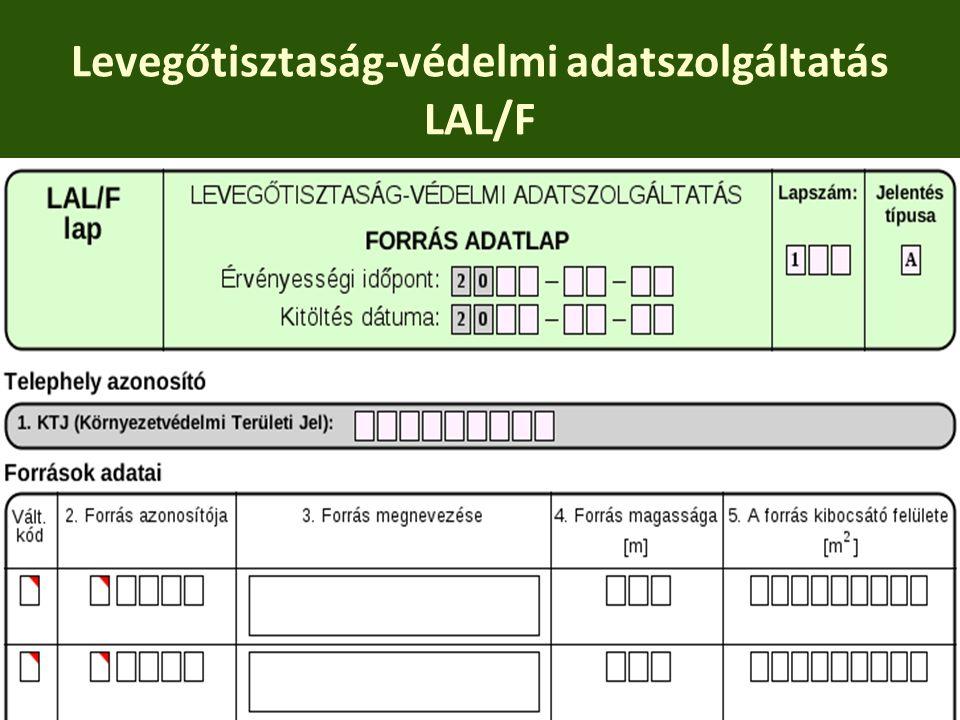 Levegőtisztaság-védelmi adatszolgáltatás LAL/F