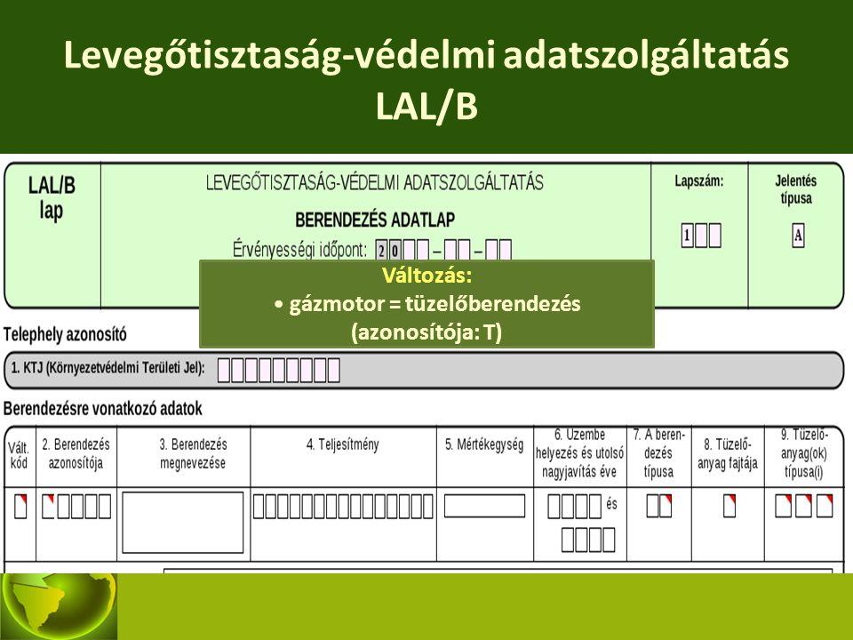 Levegőtisztaság-védelmi adatszolgáltatás LAL/B