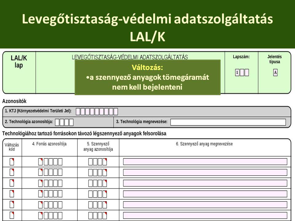 Levegőtisztaság-védelmi adatszolgáltatás LAL/K