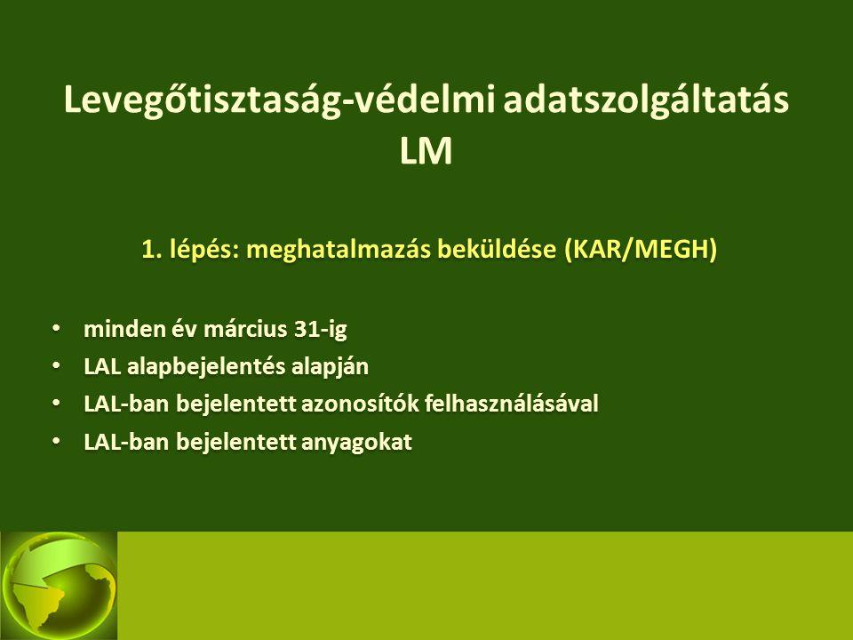 Levegőtisztaság-védelmi adatszolgáltatás LM