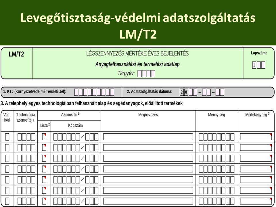 Levegőtisztaság-védelmi adatszolgáltatás LM/T2