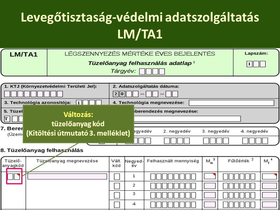 Levegőtisztaság-védelmi adatszolgáltatás LM/TA1