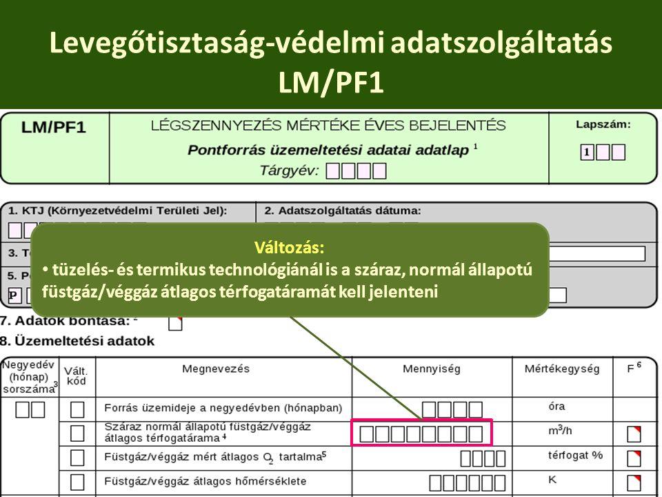 Levegőtisztaság-védelmi adatszolgáltatás LM/PF1