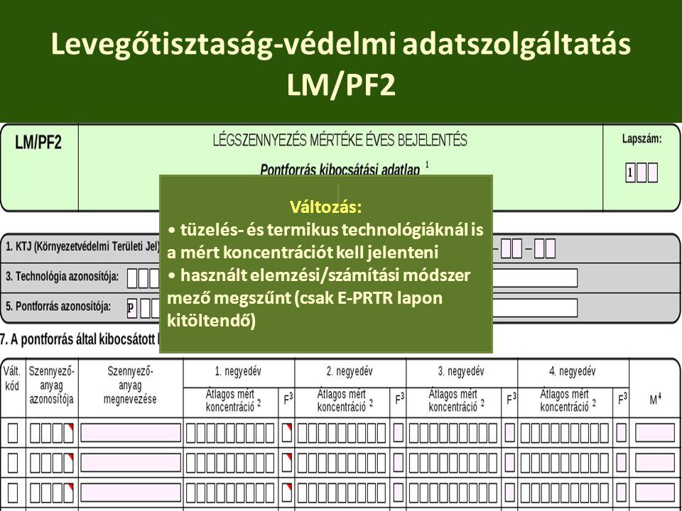 Levegőtisztaság-védelmi adatszolgáltatás LM/PF2
