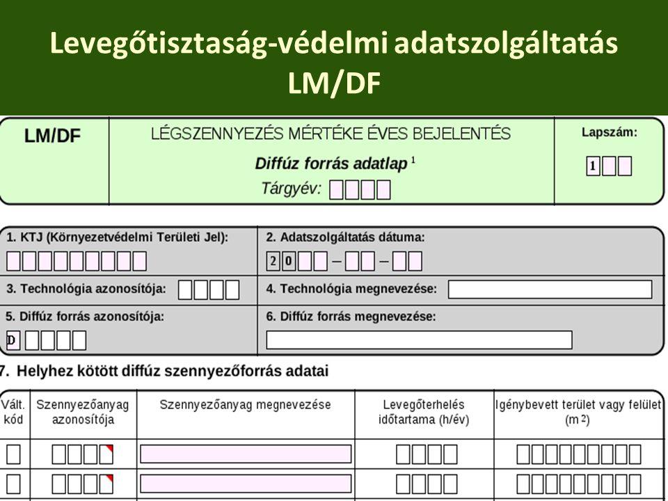 Levegőtisztaság-védelmi adatszolgáltatás LM/DF