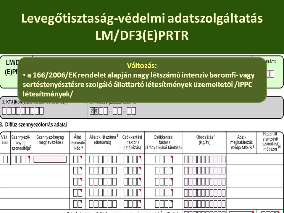 Levegőtisztaság-védelmi adatszolgáltatás LM/DF3(E)PRTR