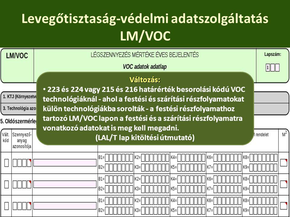 Levegőtisztaság-védelmi adatszolgáltatás LM/VOC