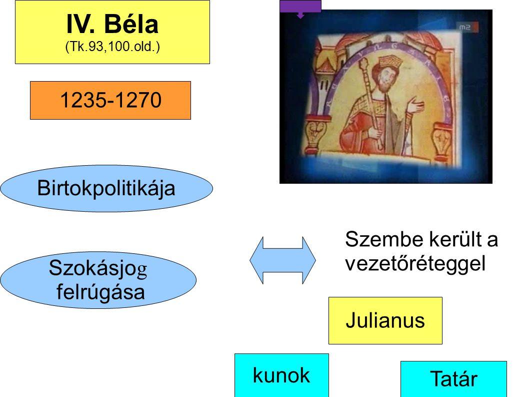 IV. Béla 1235-1270 Birtokpolitikája Szembe került a vezetőréteggel
