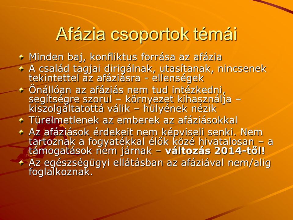 Afázia csoportok témái