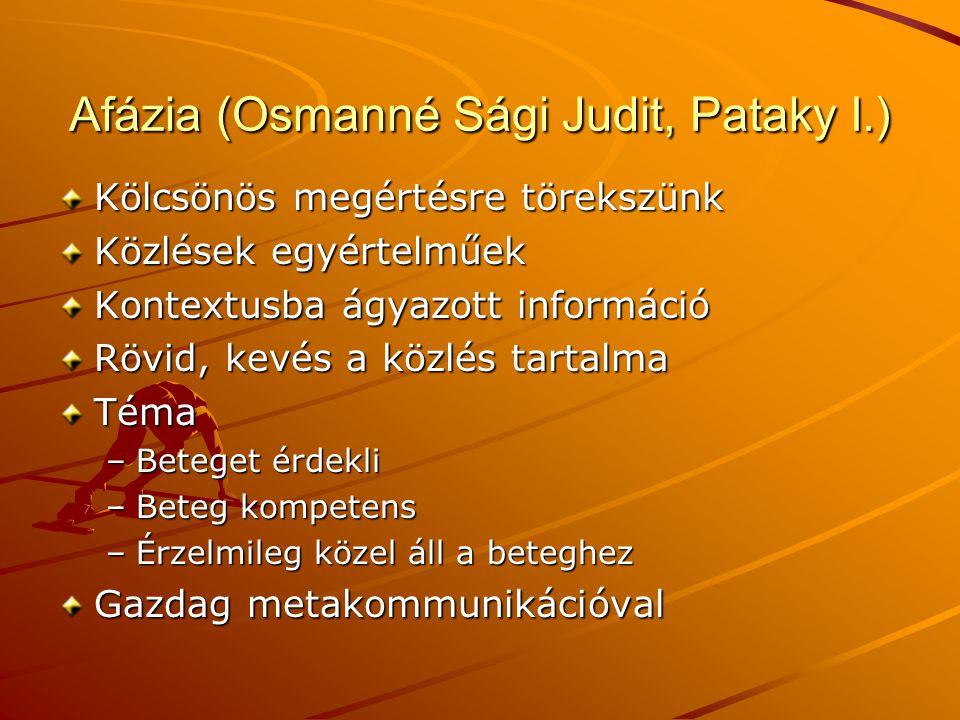 Afázia (Osmanné Sági Judit, Pataky I.)